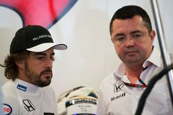 (L to R): Fernando Alonso, McLaren with Eric Boullier, McLaren Racing Director