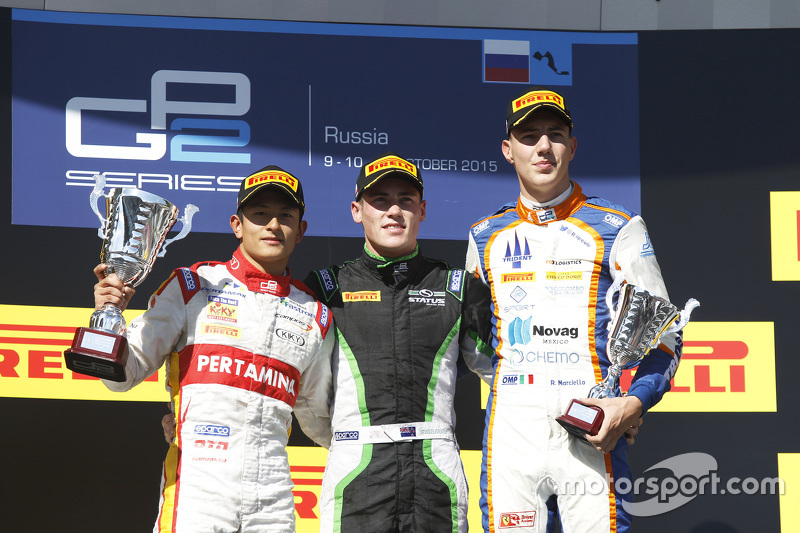 Podium: race winner Richie Stanaway, Status Grand Prix, second place Rio Haryanto, Campos Racing, third place Raffaele Marciello, Trident