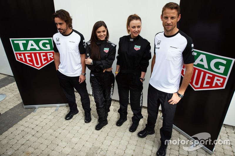 Fernando Alonso, McLaren con Ingrid Olerinskaya, actriz; Adelina Sotnikova, figura patinaje olímpico