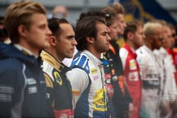 Felipe Nasr, Sauber F1 Team as the grid observes the national anthem