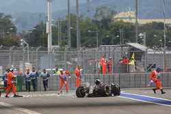 Lotus de Romain Grosjean após acidente