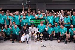 Winner Lewis Hamilton and Nico Rosberg, Mercedes
