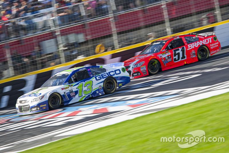 Casey Mears, Germain Racing Chevrolet and Justin Allgaier, HScott Motorsports Chevrolet