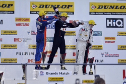 Race 3 Podium: third place Jack Goff, MG 888 Racing MG6 and winner Jason Plato, Team BMR Volkswagen CC and second place Mat Jackson, Motorbase Performance Ford Focus