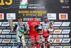 Podio: il secondo classificato Roberto Tamburini, MotoXRacing, il vincitore e campione 2015 Michele Pirro, Barni Racing Team, e il terzo classificato Ivan Goi, Barni Racing Team