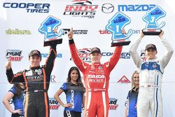 Podium: Race winner Spencer Pigot, Juncos Racing, second place Sean Rayhall, 8 Star Motorsports and third place Max Chilton, Carlin
