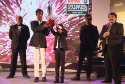 Nirmal Umashankar and Ruhaan Alva get the Akbar Ebrahim trophy for the most improved driver of the y