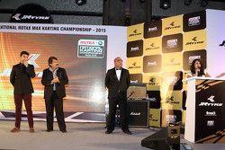 Armaan Ebrahim, Sanjay Sharma, head of motorsports JK Tyre and Akbar Ebrahim