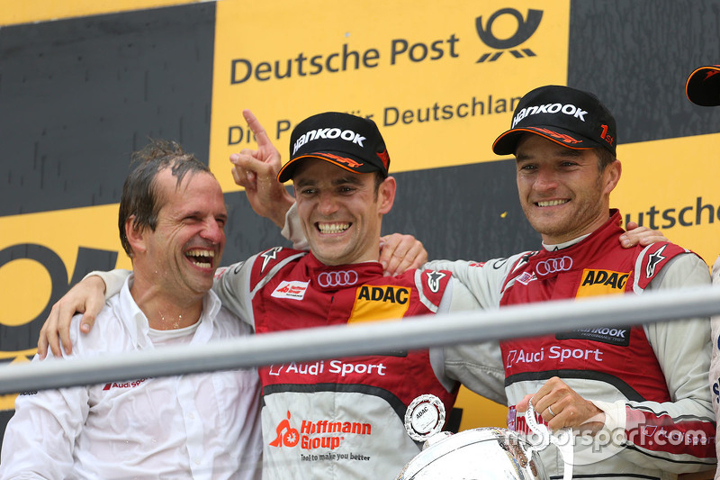 Podium: race winner Timo Scheider, Audi Sport Team Phoenix Audi RS 5 DTM, second place Jamie Green, Audi Sport Team Rosberg Audi RS 5 DTM