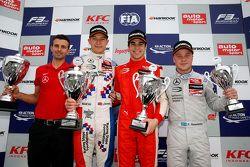 Race 1 Podium: second place Jake Dennis and winner Lance Stroll and third place Felix Rosenqvist, Pr
