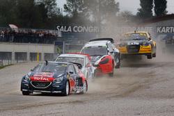 Timmy Hansen, Team Peugeot Hansen and Toomas Heikkinen, Marklund Motorsport Volkswagen Polo