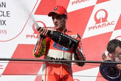 Andrea Iannone, Ducati Team celebrates his third place on the podium