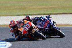 Marc Marquez, Repsol Honda Team dépasse Jorge Lorenzo, Yamaha Factory Racing