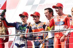 Podium : le vainqueur Marc Marquez, Repsol Honda Team, le deuxième, Jorge Lorenzo, Yamaha Factory Racing, le troisième, Andrea Iannone, Ducati Team