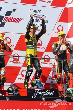 Le vainqueur Alex Rins, Paginas Amarillas HP 40 fête sa victoire sur le podium