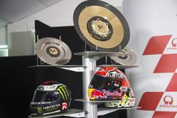 I caschi di Marc Marquez, Repsol Honda Team, Jorge Lorenzo, Yamaha Factory Racing e Andrea Dovizioso