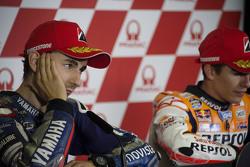 Marquez, Repsol Honda Team, Jorge Lorenzo, Yamaha Factory Racing durante la conferenza stampa