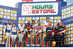 Podium: race winners Pierre Thiriet, Ludovic Badey, Nicolas Lapierre, Thiriet by TDS Racing, second