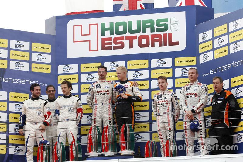 LMP3 podium: ganadores Michael Simpson, Gaëtan Paletou, Team LNT, segundo lugar, Eric Trouillet, Garry Findlay, Thomas Accary, Graff Racing, tercer lugar, Chris Hoy, Charlie Robertson, Team LNT