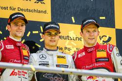 Podium du championnat : Le Champion DTM 2015 Pascal Wehrlein, HWA AG Mercedes-AMG C63 DTM, le deuxième, Jamie Green, Audi Sport Team Rosberg Audi RS 5 DTM, le troisième, Mattias Ekström, Audi Sport Team Abt Sportsline, Audi A5 DTM
