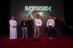 Top 3 Supersport : le deuxième, P.J. Jacobsen, Kawasaki, le Champion du Monde Kenan Sofuoglu, Puccetti Racing Kawasaki et le troisième, Lorenzo Zanetti, MV Agusta