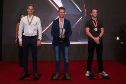 Top 3 Superbike : le deuxième, Chaz Davies, Ducati Team, le Champion du Monde 2015 Jonathan Rea, Kawasaki, le troisième, Tom Sykes, Kawasaki