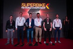 P.J. Jacobsen, Kawasaki, Chaz Davies, Ducati Team, le Champion du Monde Superbike 2015 Jonathan Rea, Kawasaki, le Champion du Monde Supersport 2015 Kenan Sofuoglu, Puccetti Racing Kawasaki, Tom Sykes, Kawasaki, et Lorenzo Zanetti, MV Agusta