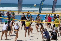 Drivers playing Beach Volleyball with the Miss V8 Supercars girls