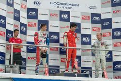 Race 1 Podium: second place Jake Dennis and winner Lance Stroll and third place Felix Rosenqvist, P