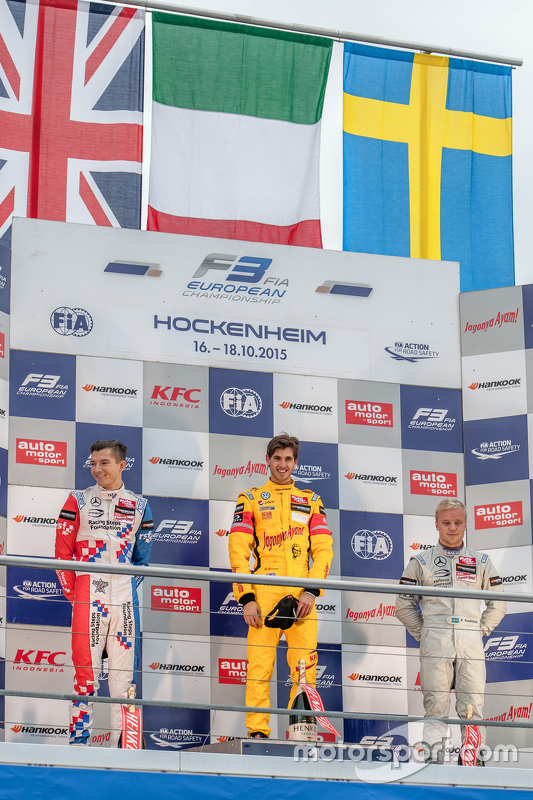 Podium 2. Rennen: 2. Jake Dennis, Prema Powerteam, Dallara Mercedes-Benz; 1. Antonio Giovinazzi, Jagonya Ayam with Carlin, Dallara Volkswagen; 3. Felix Rosenqvist, Prema Powerteam, Dallara Mercedes-Benz