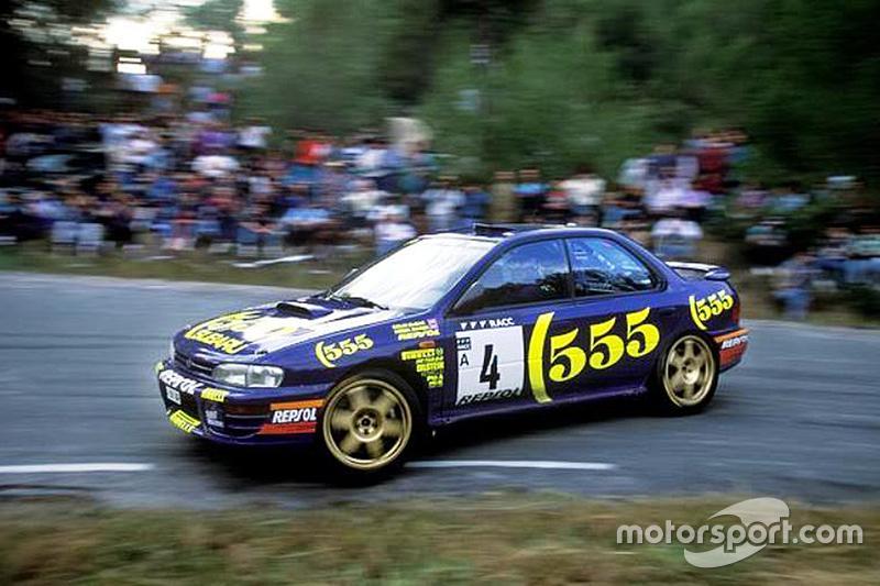 Colin McRae, con un Subaru en el Rally de Catalunya 1995