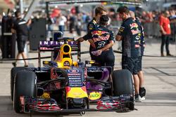 The Red Bull Racing RB11 of Daniel Ricciardo, Red Bull Racing in the pits
