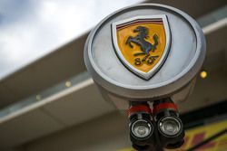 Ferrari logo on pit stop equipment