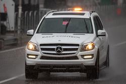 Race Control vehicle in the heavy rain