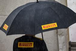 Pirelli umbrella in the heavy rain