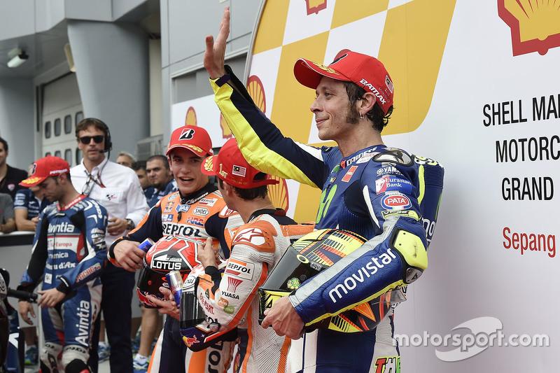 Ganador de la Pole Dani Pedrosa, Repsol Honda Team, segundo sitio Marc Márquez, Repsol Honda Team y el tercer puesto Valentino Rossi, Movistar Yamaha MotoGP