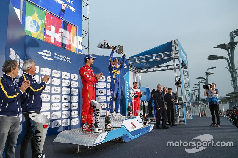 Podium: winner Sébastien Buemi, Renault e.Dams, second place Lucas di Grassi, ABT Schaeffler Audi Sport, third place Nick Heidfeld, Mahindra Racing