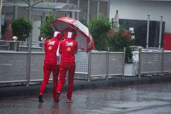 Ferrari staff in the rain in the paddock