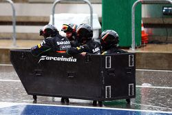 The Sahara Force India F1 Team have some fun in the pits