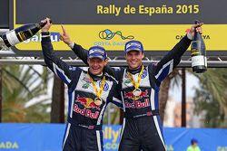 Winners Andreas Mikkelsen and Ola Floene, Volkswagen Polo WRC, Volkswagen Motorsport