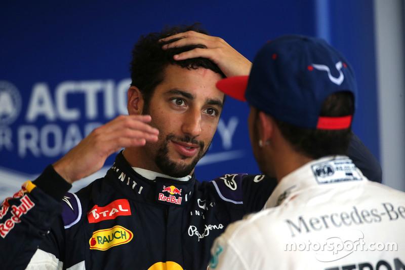 Third place qualifying for Daniel Ricciardo, Red Bull Racing and second place qualifying for Lewis Hamilton, Mercedes AMG F1 Team Lewis Hamilton, Mercedes AMG F1 Team
