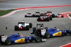 Fernando Alonso, McLaren MP4-30 en tête-à-queue au départ et évité par Marcus Ericsson, Sauber C34 et Felipe Nasr, Sauber C34
