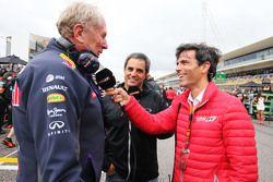 Dr Helmut Marko, Consultant pour Red Bull et Juan Pablo Montoya, sur la grille