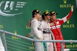 Podium: 2. Nico Rosberg, Mercedes AMG F1 Team; 3. Sebastian Vettel, Scuderia Ferrari; 1. Lewis Hamil