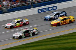 Dale Earnhardt Jr. and Jeff Gordon and Jimmie Johnson, Hendrick Motorsports Chevrolets and Joey Logano, Team Penske Ford