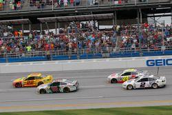 Joey Logano, Team Penske Ford and Dale Earnhardt Jr. and Jeff Gordon, Hendrick Motorsports Chevrolets and Brad Keselowski, Team Penske Ford