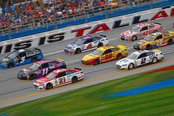 Ryan Blaney, Wood Brothers Racing Ford and Denny Hamlin, Joe Gibbs Racing Toyota and Kasey Kahne, He