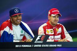 Race winner and World Champion Lewis Hamilton, Mercedes AMG F1 and third place Sebastian Vettel, Ferrari in the FIA Press Conference