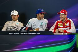 The post race FIA Press Conference; Second place Nico Rosberg, Mercedes AMG F1, race winner and World Champion Lewis Hamilton, Mercedes AMG F1, and third place Sebastian Vettel, Ferrari