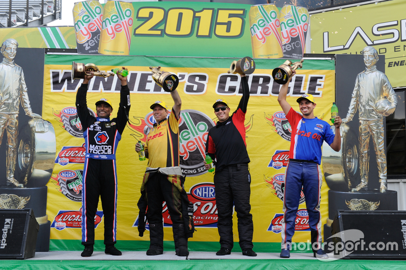 Race winners Antron Brown, Del Worsham, Drew Skillman and Hector Arana Jr.